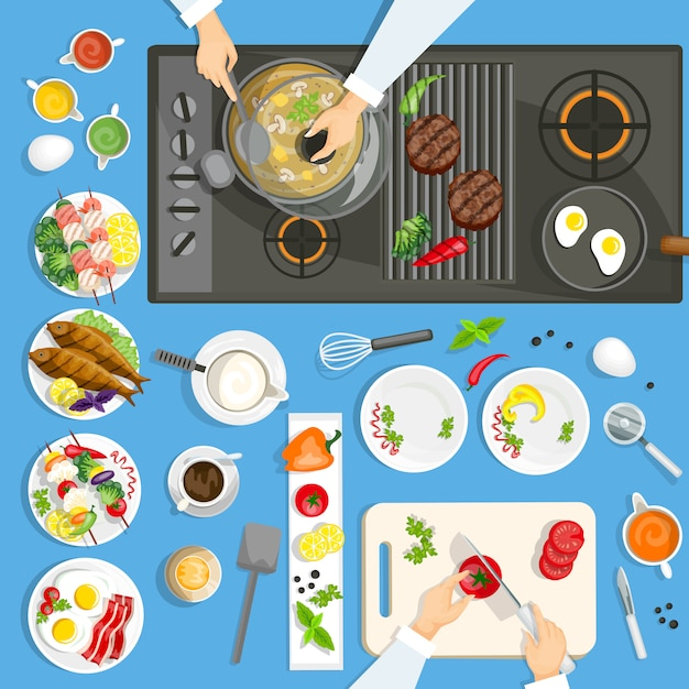 Dishes and utensils on the kithen Free Vector