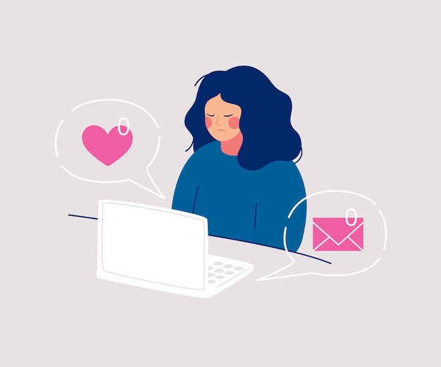 Disheveled sadness woman sits at the computer having zero received messages and likes from friends. Premium Vector