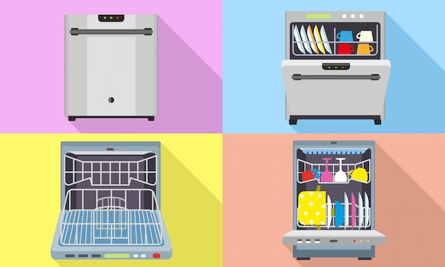 Dishwasher icons set. flat set of dishwasher vector Premium Vector