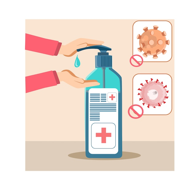Disinfect hands with sanitizer gel concept in a flat design Premium Vector