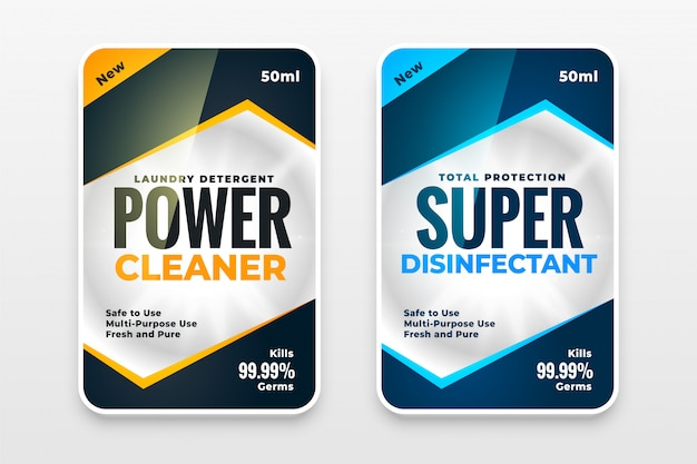 Disinfectant cleaner washer labels template design set Free Vector