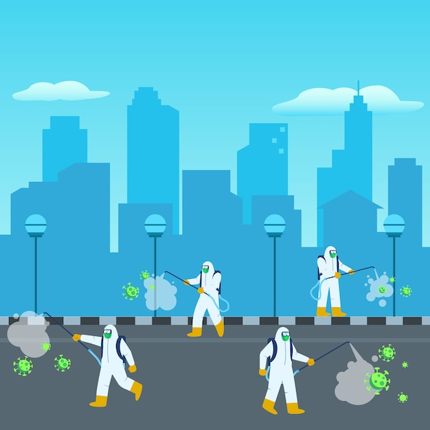 Disinfectant officer sterilized the city Premium Vector