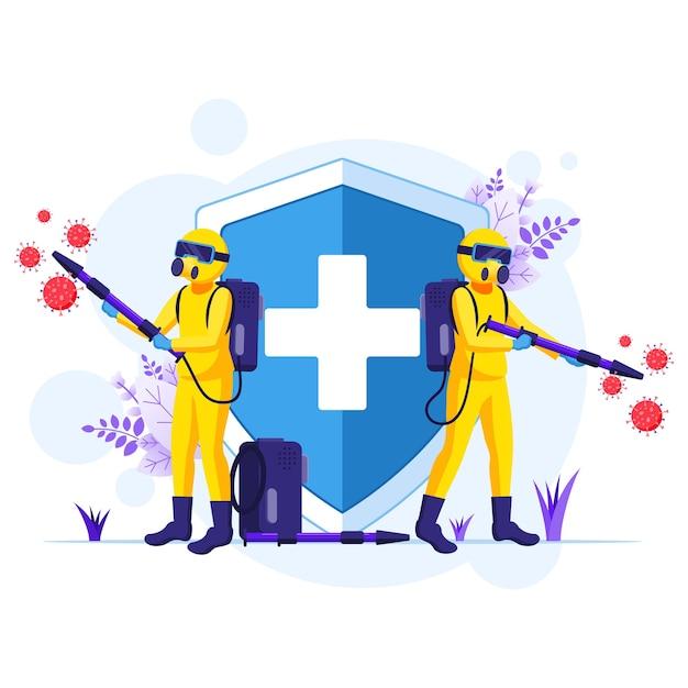 Disinfectant worker in hazmat suits sprays cleaning and disinfecting coronavirus cells virus illustration Premium Vector