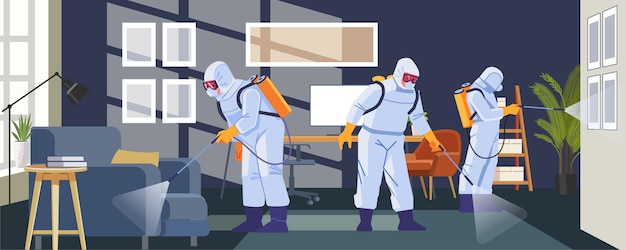 Disinfecting anti coronavirus in business office as a prevention against coronavirus or covid-19 pandemic. cartoon, flat style illustration Premium Vector