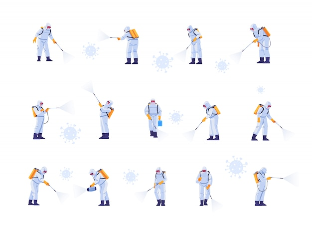 Disinfecting work teams wear protective masks and spacesuits against pandemic coronavirus or covid-19 sprays. cartoon style illustration isolated on white background. Premium Vector