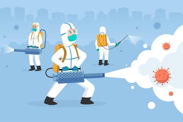 Disinfection cleaning machine spray with hazmat suit for contagious virus.cure corona virus. people fight corona virus concept with disinfectant. fight covid-19    cartoon illustration concept. Premium Vector