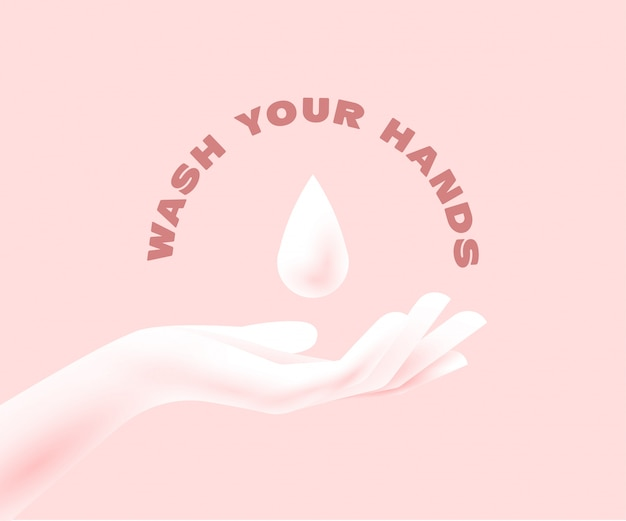 Disinfection concept. woman hand silhouette with liquid soap drop above. applying a moisturizing sanitizer. washing hands concept. isolated on pink background. illustration Premium Vector