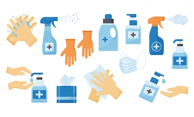Disinfection. hand hygiene.  illustration Premium Vector