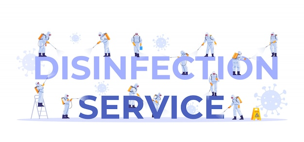 Disinfection service. concept set of cleaning company staff different poses, for web page, banner, presentation, social media, documents, cards, posters. coronavirus, pandemic. illustration. Premium Vector