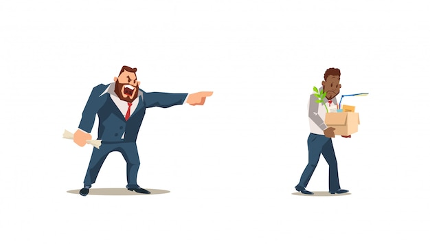 Dismissed, loss job. angry boss dismiss employee. Premium Vector