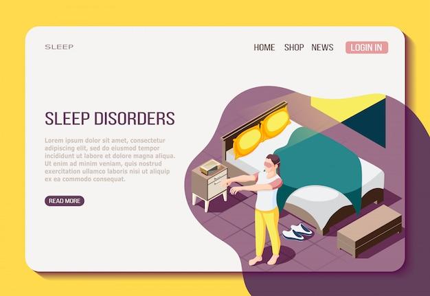 Disordine della notte che riposa pagina web isometrica con la ragazza durante la camminata nel sonno Vettore gratuito