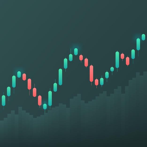 Отображение котировок фондового рынка. подсвечник на белом фоне. Premium векторы