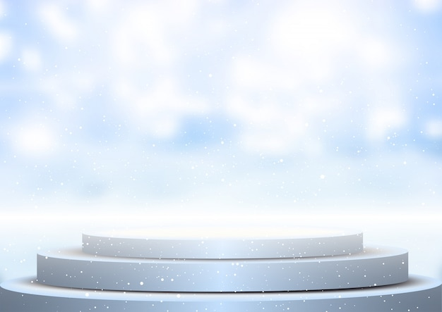 Display podium against blurred winter background Free Vector