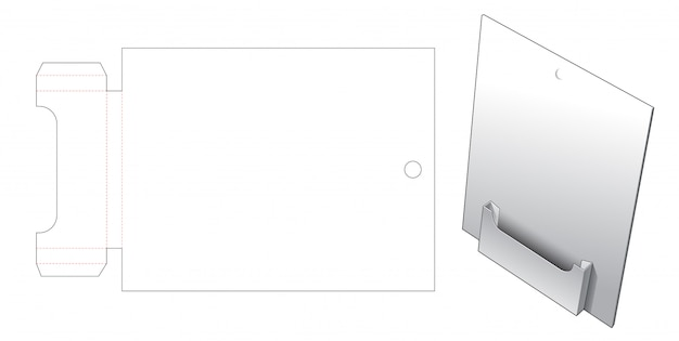 Display stand with hang hole die cut template Premium Vector