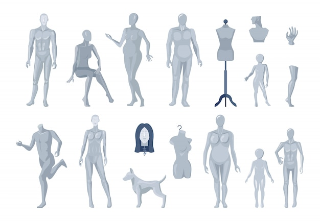 Display window and tailor mannequins selection Free Vector