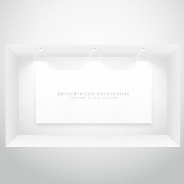 프리젠 테이션 액자가있는 디스플레이 창 무료 벡터