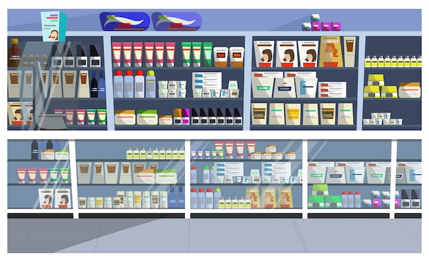 Display with hair products illustration Free Vector