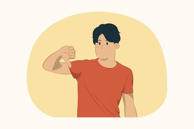 親指を下に向けたコンセプトを示す不機嫌な若い男 Premiumベクター
