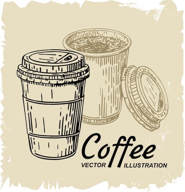Disposable coffee cup Premium Vector
