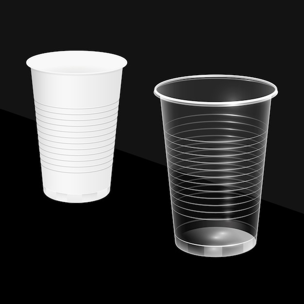 Disposable cups, white and transparent. Premium Vector