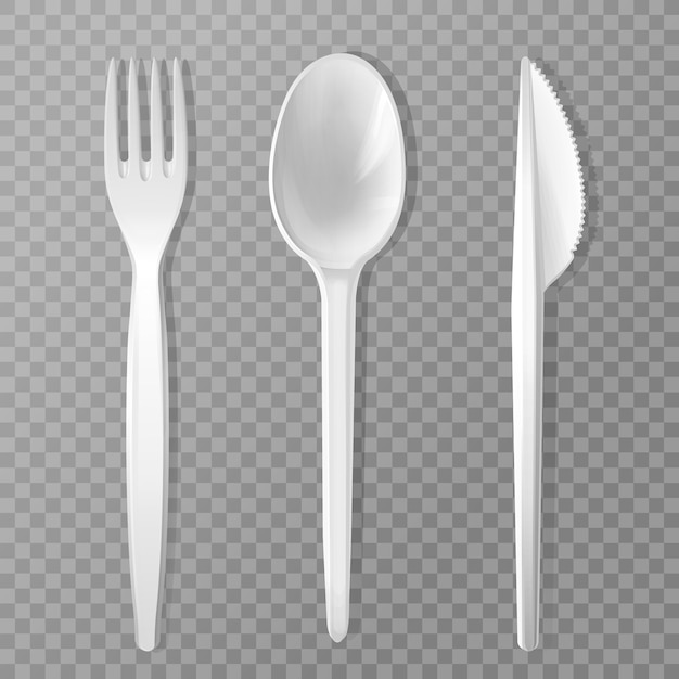 Disposable fork, knife and spoon. Realistic plastic kitchen utensil, serving set. Free Vector