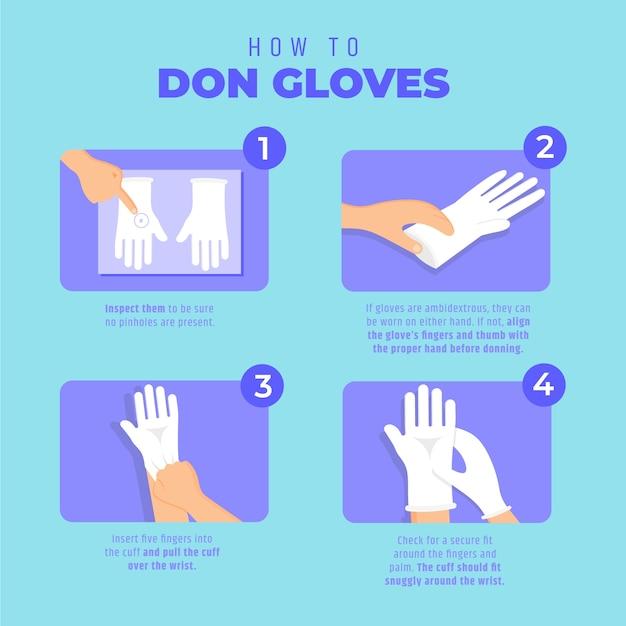 Одноразовые перчатки надевают инфографику Бесплатные векторы