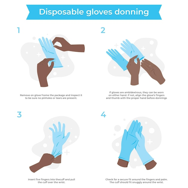 Disposable gloves donning infographic Free Vector