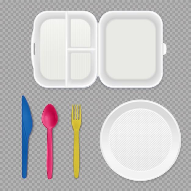 使い捨ての白いプラスチックプレートランチボックスとカラフルなカトラリートップビュー現実的な食器セット透明 無料ベクター