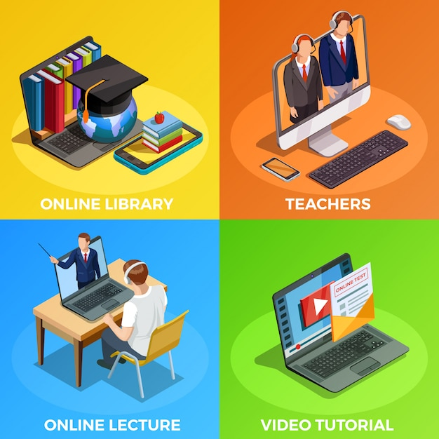 Distance education design concept Free Vector