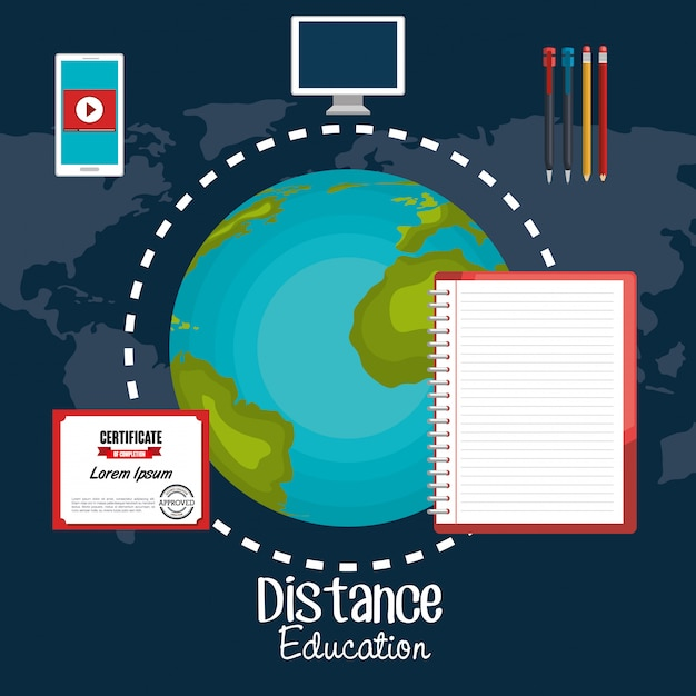 Distance education design Premium Vector