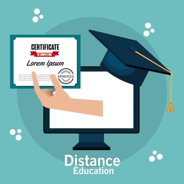 Distance education design Premium Vector