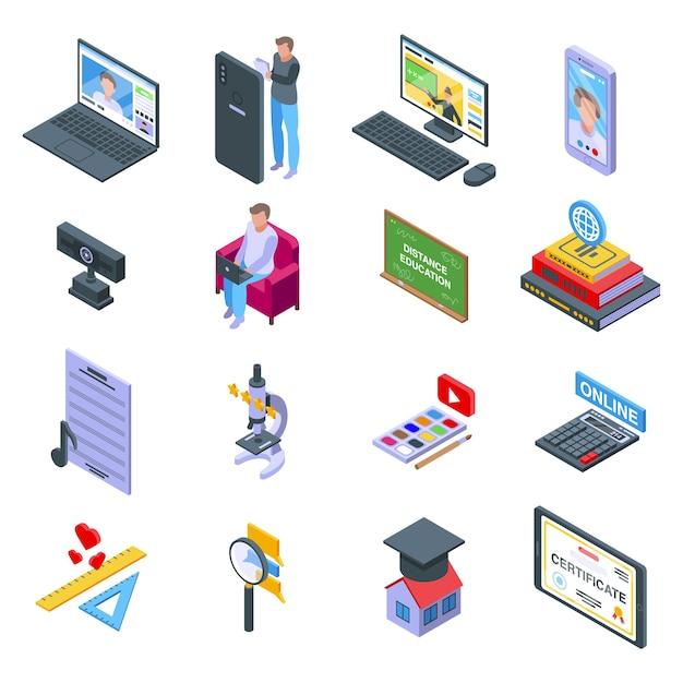 Набор иконок дистанционного образования. изометрические набор иконок дистанционного образования для интернета, изолированные на белом фоне Premium векторы