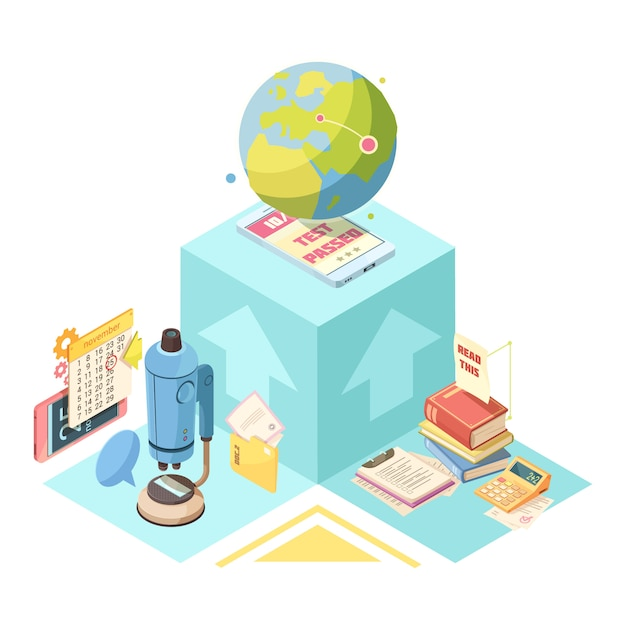 Distance education isometric design with globe, mobile device on blue cube, books, microscope and calculator Free Vector