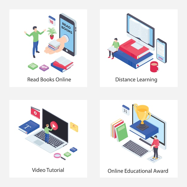 Distance learning isometric icons pack Premium Vector