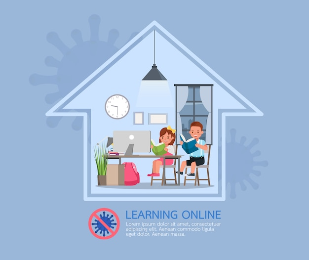 Distance learning online education classes for children during coronavirus. social distancing, self-
