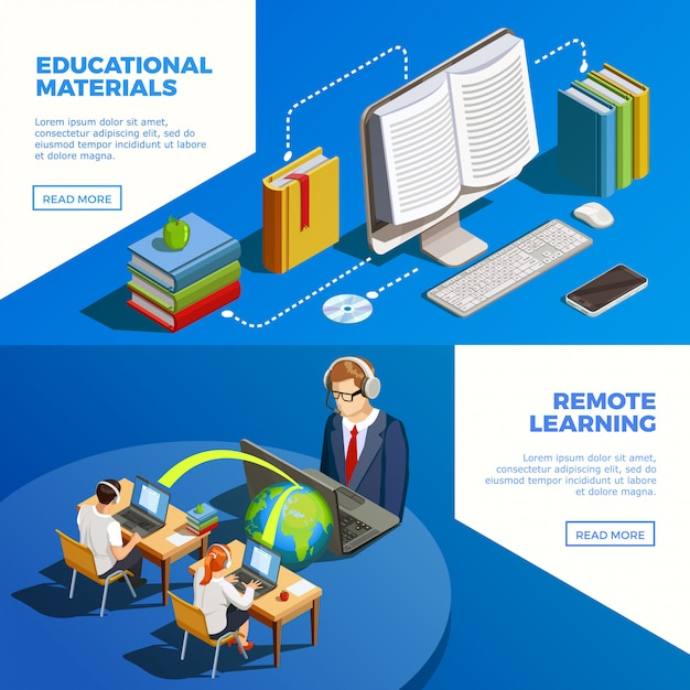 Distance teaching banners set Free Vector
