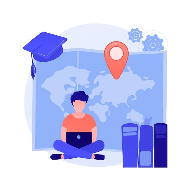 원격 대학 과정. 학위, 자기 교육, 인터넷 수업. 학교 온라인 수업, 전자 학습. 대학생 만화 캐릭터 무료 벡터