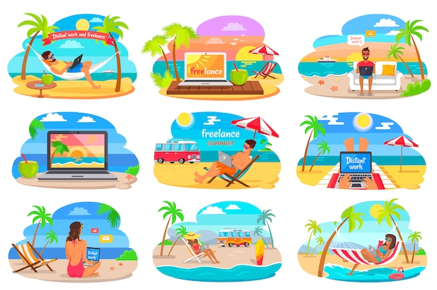 Distant work and freelance on beach during summer Premium Vector