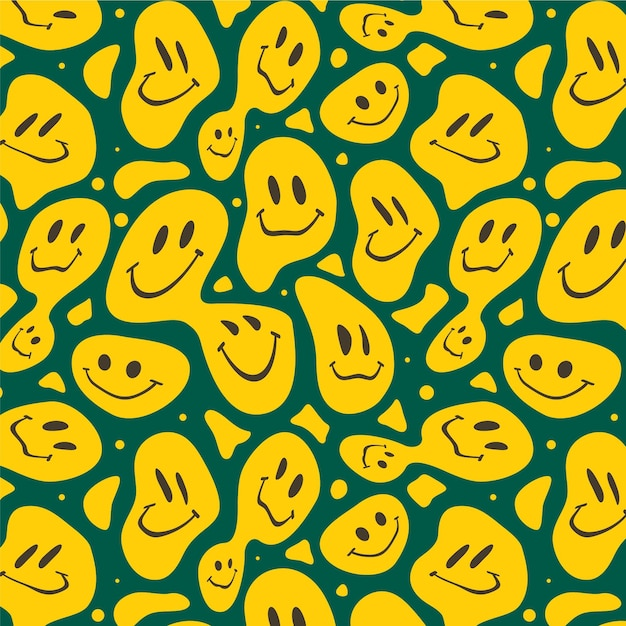 Distorted creepy smiles pattern Free Vector