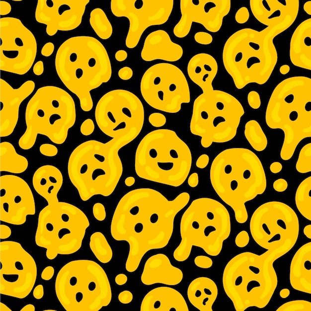 Distorted emoticon seamless pattern template Free Vector