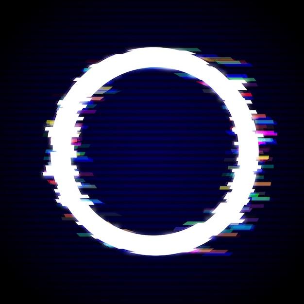 Distorted glitch style modern background. glitched circle frame design Premium Vector