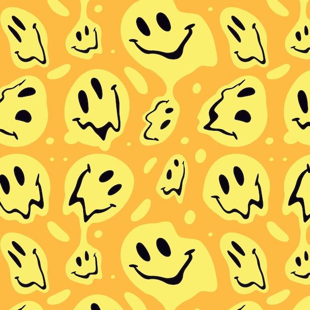 왜곡 된 미소 이모티콘 패턴 디자인 무료 벡터