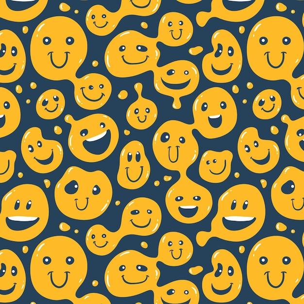 왜곡 된 미소 이모티콘 패턴 무료 벡터