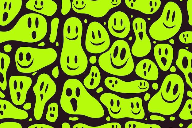Distorted smile emoticon pattern Free Vector