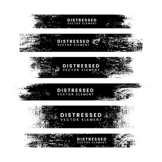 Distressed black stroke banners Free Vector