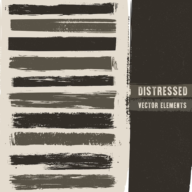 Distressed stroke texture banners Premium Vector