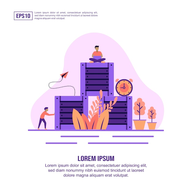 Distribution concept icon with character Premium Vector