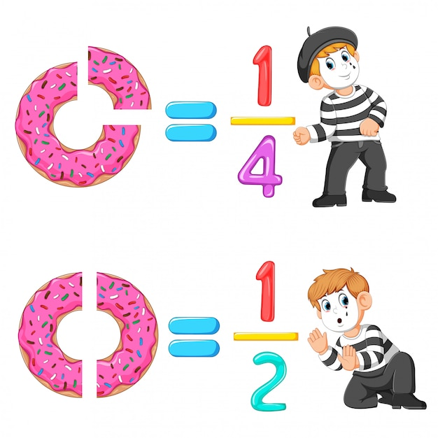 The distribution of the doughnut and jelly number with the good pantomime Premium Vector