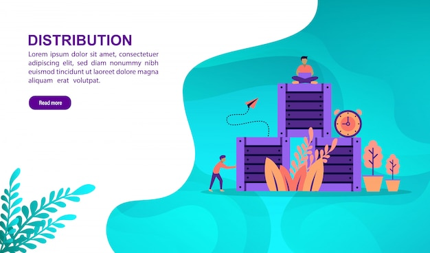 Distribution illustration concept with character. landing page template Premium Vector