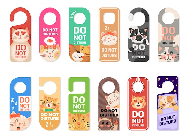 Do not disturb door hanger signs, tags with cats Premium Vector